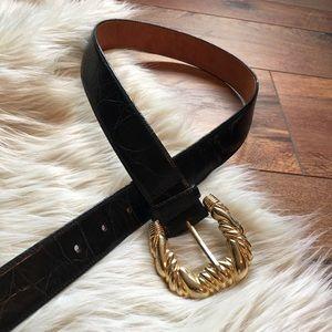 Black Leather Belt Gold Buckle